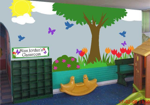 Outside Garden Classroom Mural Kit - Kids Room Mural Wall Decals