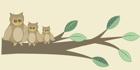 Owl Family Tree Branch Mural - Kids Room Mural Wall Decals