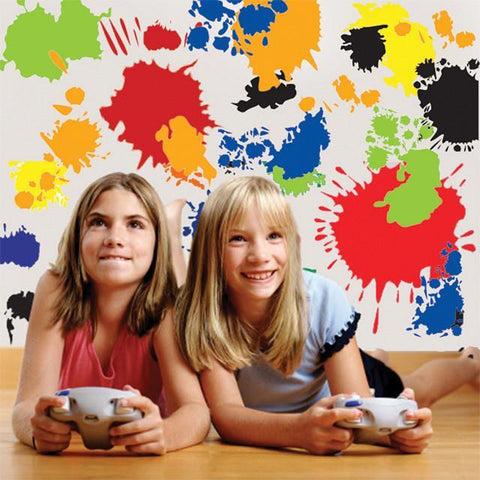 Paint Splats Mural ~Splatter Wall Decals fro Kids Rooms - Kids Room Mural Wall Decals