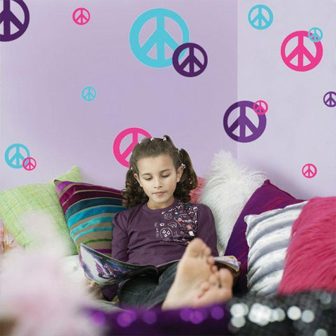 Peace Sign Wall Stickers -Hot Pink, Purple & Teal - Kids Room Mural Wall Decals