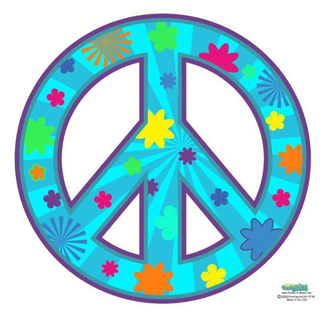 Peace Sign Groovy Teal