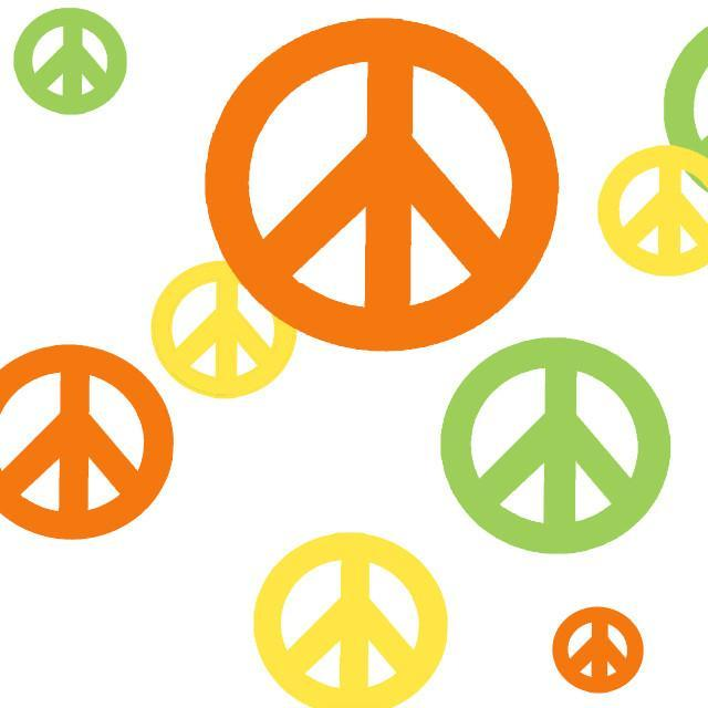 Peace Sign Wall Stickers -Orange, Green & Yellow