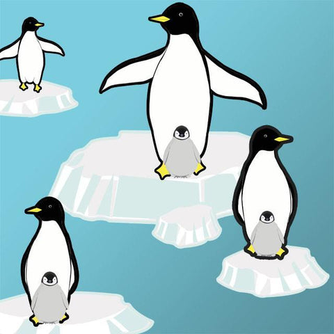 Playful Penquin Secene Wall Decals - Kids Room Mural Wall Decals