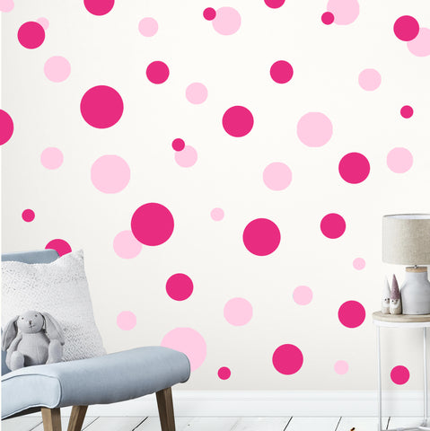 Soft Pink & Hot Pink Wall Dot Decals - Kids Room Mural Wall Decals