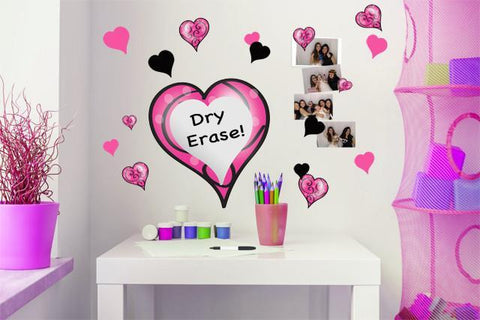 Swirly & Pink, Black Heart Dry Erase Wall Decals - Kids Room Mural Wall Decals