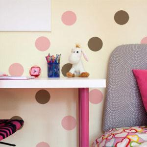 Pink & Brown Room Dot Decals