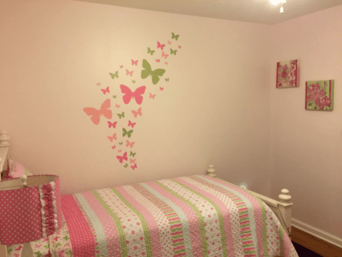 Butterfly Wall Decals- Soft Pink, Pink, & Sage Green Vinyl Wall Decor Stickers - Kids Room Mural Wall Decals