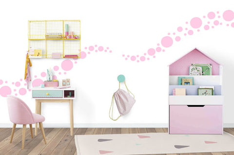 Soft Pink Polka Dot Wall Stickers - Create-A-Mural