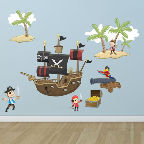 Pirate Adventures Mural - Kids Room Mural Wall Decals