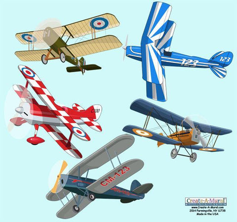 Bi-Plane Wall Decals -Kids Wall Decals - Kids Room Mural Wall Decals