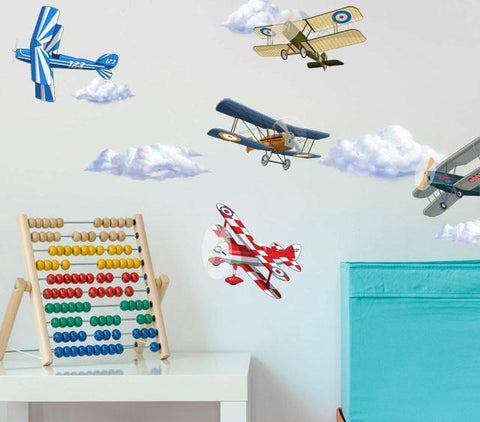 Vintage Plane & Cloud Wall Decals - Kids Room Mural Wall Decals