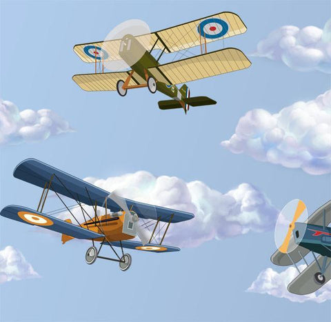 Plane & Cloud Murals - Kids Room Mural Wall Decals