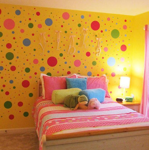 (252) Fun Polka Dot Wall Stickers -Kids Wall Decals - Create-A-Mural