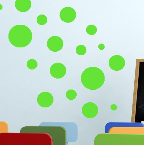 Lime Green Wall Dots (63) Polka Dot Wall Decals