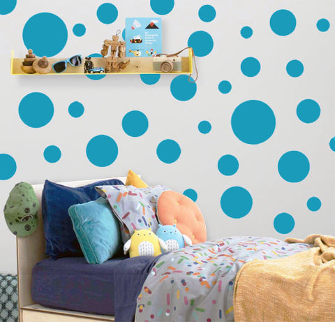 Polka Dot Wall Decals (63) Teal Wall Dot Stickers - Create-A-Mural