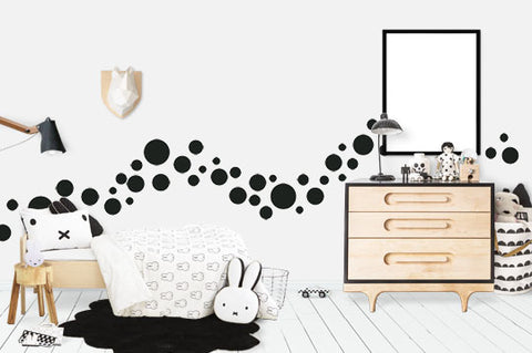 Black Polka Dot Wall Decals (63) Wall Dot Wall Stickers