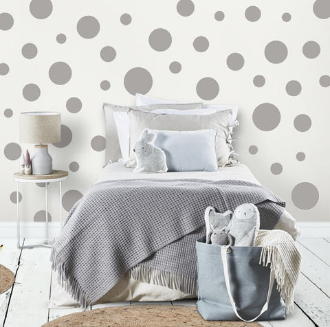 Grey Polka Dot Wall Stickers (63) Wall Dot Decals - Kids Room Mural Wall Decals