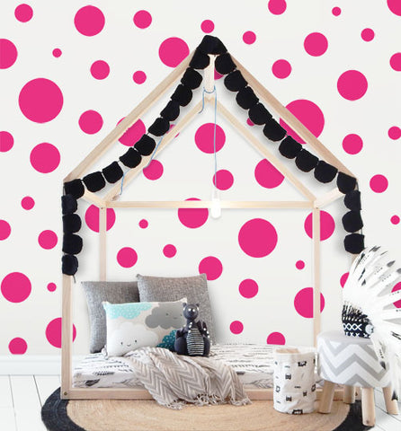Polka Dot Wall Stickers- (63) Hot Pink Wall Dot Decals - Kids Room Mural Wall Decals