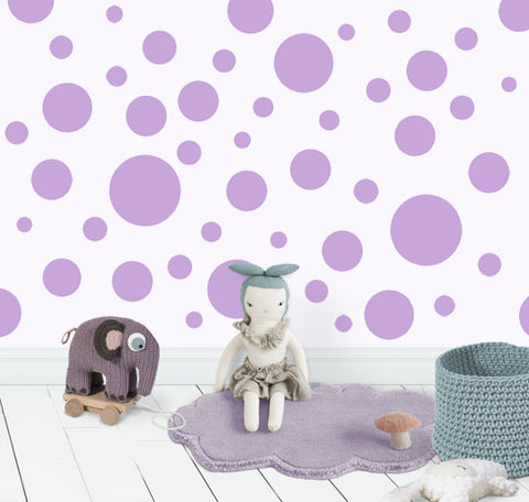 Polka Dot Wall Decals (63) Lilac Wall Dot Decals - Kids Room Mural Wall Decals