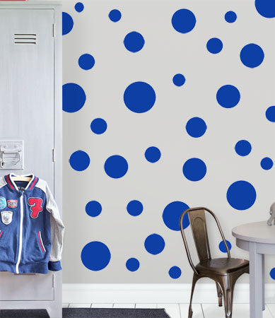 Polka Dot Wall Decals (63) Blue Wall Dot Stickers - Create-A-Mural