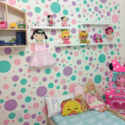 Pastel  Polka Dot Wall Decals - Kids Room Mural Wall Decals