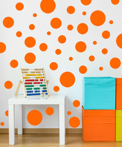 Polka Dot Decals-  Orange Wall Stickers - Create-A-Mural