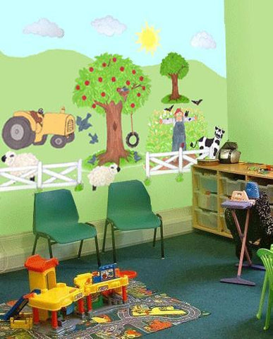 Barnyard Preschool Design Mural - Kids Room Mural Wall Decals