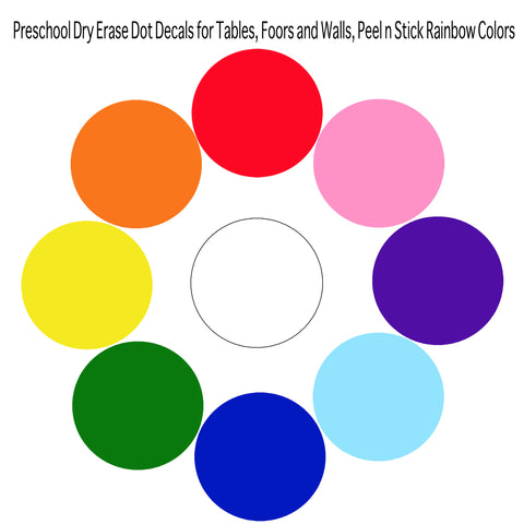 Preschool Dry Erase Dot Decals for Tables, Floors and Walls, Peel n Stick Rainbow Colors - Create-A-Mural