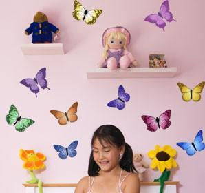 Colorful Butterfly Wall Decals - Kids Room Mural Wall Decals