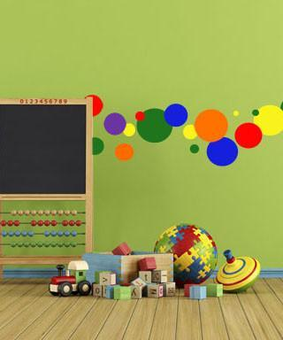 Kids Rooms (252) Rainbow Polka Dot Wall Stickers ~Kids Wall Dot Decals - Kids Room Mural Wall Decals