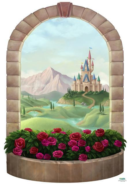 Castle Window Mural Design A Princess Castle Girls Fairy
