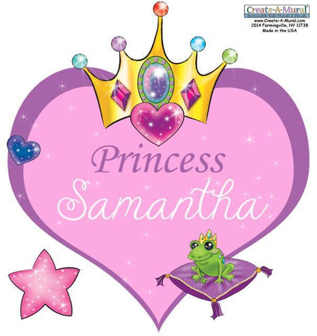 Custom Princess Heart Wall Decal - Kids Room Mural Wall Decals