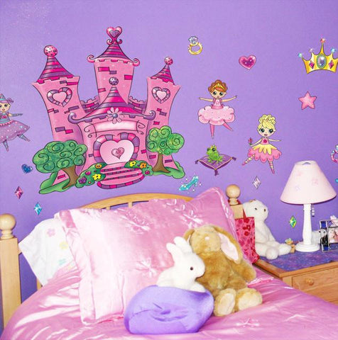 Princess Heart Castle Mural - Kids Room Mural Wall Decals