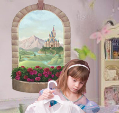 Princess Castle Window Mural - Kids Room Mural Wall Decals