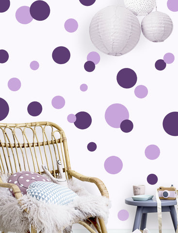 Polka Dot Wall Stickers -Lt. & Dk. Purple Wall Dot Decals - Kids Room Mural Wall Decals