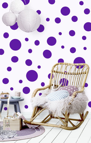 Polka Dot Wall Decals (63) Purple Wall Dots - Kids Room Mural Wall Decals