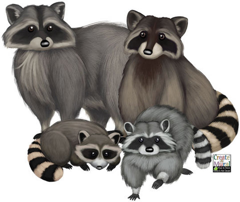 Raccoon Family Wall Decals ~Kids Room Animal Wall Decor Stickers - Kids Room Mural Wall Decals
