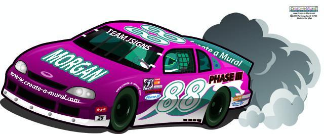 Girls Race Car Mural