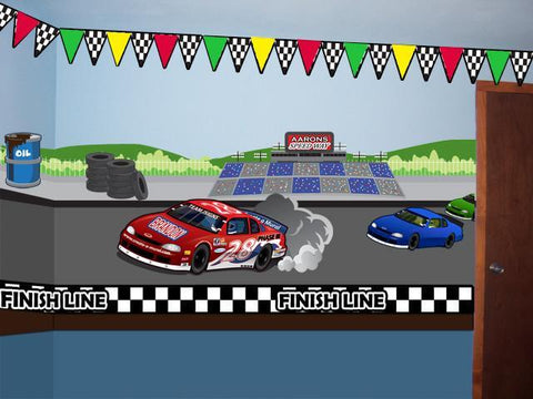 Race Track Speedway Mural- Large - Create-A-Mural