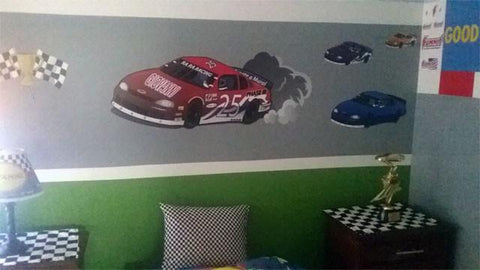Race Car Mural Kit 1 - Kids Room Mural Wall Decals
