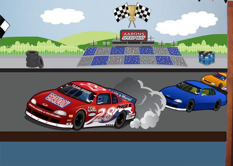 Race Car Speedway Mural Small - Kids Room Mural Wall Decals