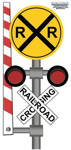Rail Road Sign Wall Decal - Kids Room Mural Wall Decals