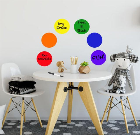 Rainbow Dot Dry Erase Wall Decals - Kids Room Mural Wall Decals
