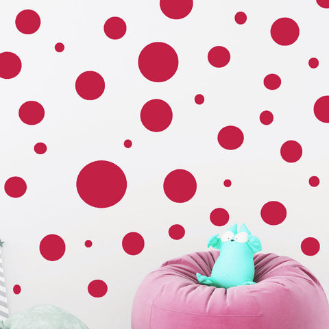 Polka Dot Wall Decals-  Red Wall Decor Sticker - Create-A-Mural