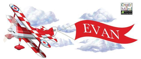 Red Plane Banner Mural - Kids Room Mural Wall Decals