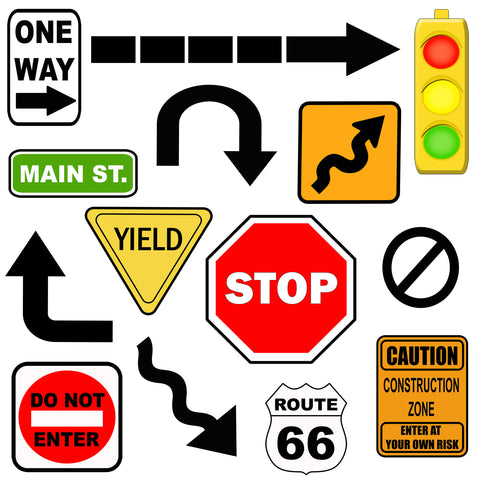 Road Signs Wall Decals, Boys Street Wall Stickers - Create-A-Mural