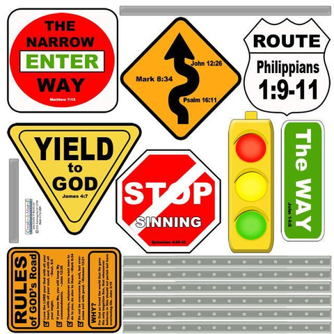 Jesus Way Road Signs Mural - Kids Room Mural Wall Decals