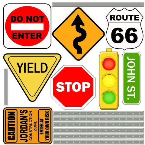 Road Signs Mural 3' - Kids Room Mural Wall Decals
