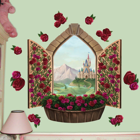 Rose Castle Window Mural - Kids Room Mural Wall Decals