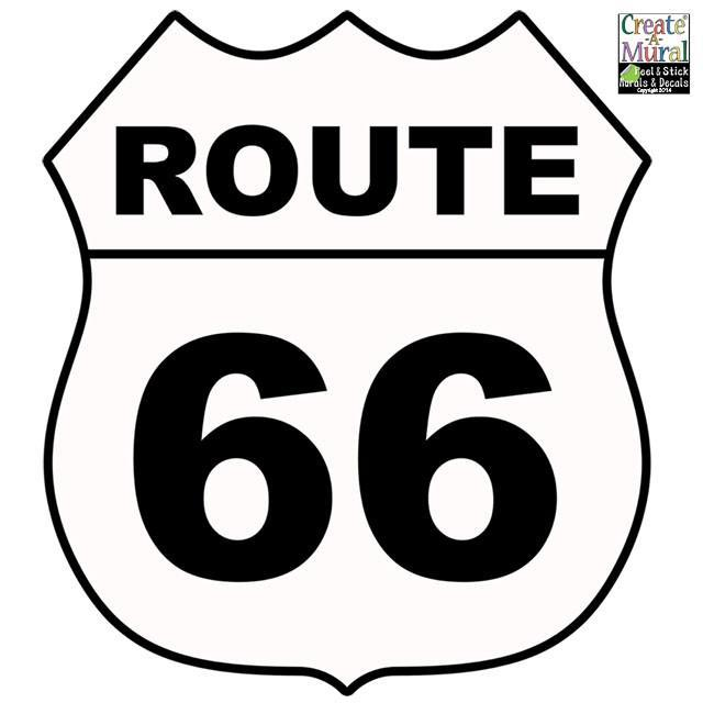 Route 66 Sign Wall Decals Street Sign Road Trip Wall Sticker